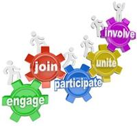 Cartoon gears with engage, join, participate, unite and involve